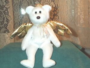8c47474dff2 TY Beanie Baby babies bear Halo II Angel Bear 1-14-2000 Gold Wings ...