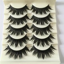 5 Pairs Thick Cross False Eyelashes Eye Lash Extensions Black Long 3D Natural