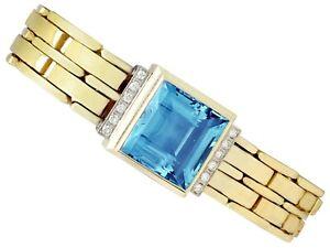 Vintage-21-68ct-Aquamarine-0-38ct-Diamond-14Carat-Yellow-Gold-Bracelet-1960s