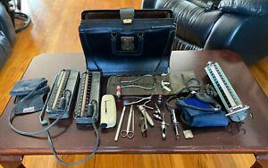 Vintage Antique Black Leather Doctor's Bag w/ Medical Instruments Tools