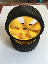 New 4PCS Yellow 1/8 Scale RC Off Road Car Buggy Racing Tires Tyre and Wheels I