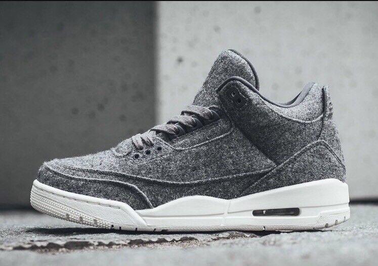 Nike air jordan 3 iii premio retro lana grigio scuro vela bianca 854263-004 sz - 9