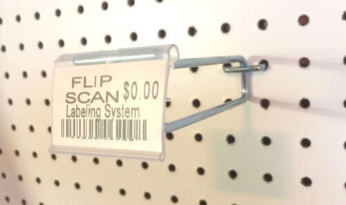 "10 PACK 4 Inch Flip Scan Metal Peg Hooks wLabel Holder 18"" to 14"" Pegboard"