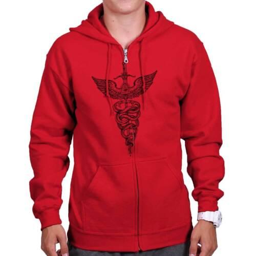 Caduceus Doctor Shirt Illuminati Sword Wing Medical Gift Cool Zip Hoodie