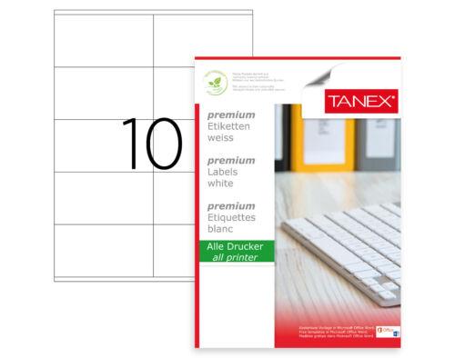 weiß TANEX TW-2610 Adressetiketten 250 Etiketten 105 x 57 mm 25 Blatt