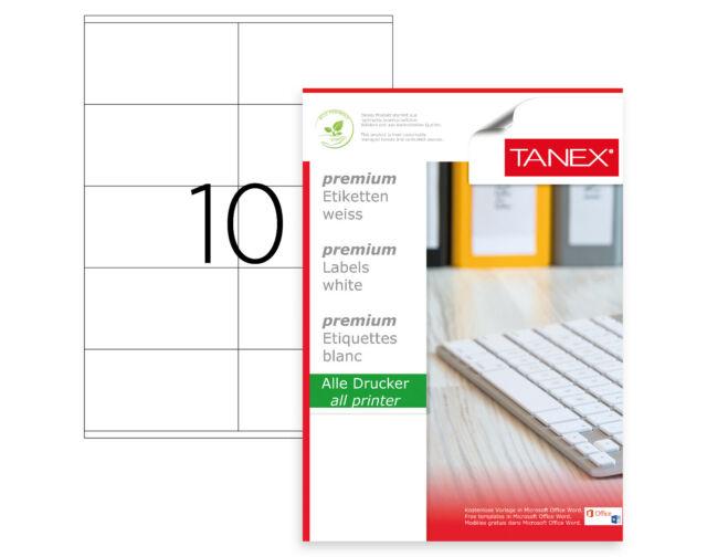 Tanex TW-2610 Etiquetas de Dirección (105 X 57mm) Blanco, 250 Etiquetas, 25 Hoja