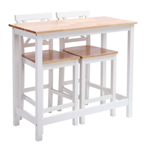 White 3 Piece Breakfast Bar Counter Dining Table and 2 Chair Set Pine Wood Chair