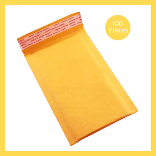 #000 Yellow Padded Envelope 4'x8; Bubble Mailers Shipping Bags100 Pcs