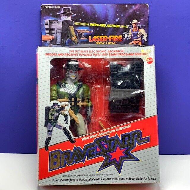 BraveEstrella Figura De Acción De Juguete 1986 Mattel láser fuego Tex Hex Vintage Nuevo En Caja Caja MOC