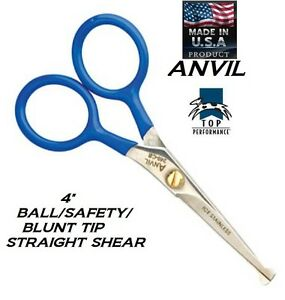 Pet-Dog-Cat-GROOMING-Blunt-Ball-Safety-Tip-4-034-Shear-Scissor-w-Case-Face-Finishing