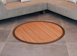 Bambusteppich rund 160 cm lasiert Bambusmatte Bad Küchen Teppich ...