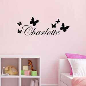 Charlotte butterfly decor name vinyl wall sticker kids for Childrens butterfly bedroom ideas