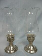 VINTAGE (1950's-60's) WEIGHTED STERLING & ETCHED CRYSTAL CANDLE LITE LUSTERS