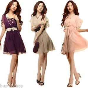 Chiffon-Mini-Kleid-oder-TOP-mit-Guertel-khaki-rosa-lila-weiss-Gr-M-XXL-34-40