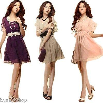 Chiffon Mini Kleid oder TOP mit Gürtel khaki rosa lila weiss Gr. M-XXL (34-40)