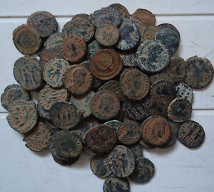 10-Lot-of-High-quality-Ungraded-Unsorted-and-Uncleaned-desert-Roman-coins