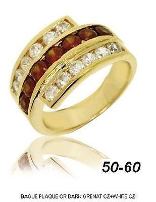 Bague Femme T54 Sertie Diamant /& Rubis Cz Plaqué Or 18K 5 Microns Dolly-Bijoux