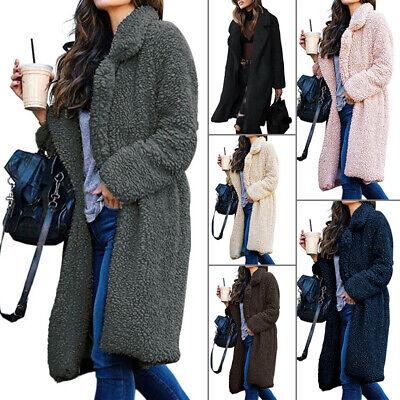 Women Winter Warm Teddy Bear Fleece Jacket Coat Open Front Long Cardigan Outwear
