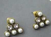 ❤️silpada K&r Brass Crystal Pearl pyramid Pearl Post Stud Earrings Krp0102
