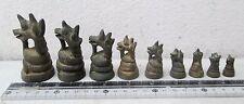 SUPERB! Set of 9 Bronze Mythical Naga Opium Weight