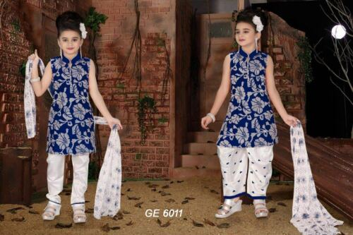 Ragazza 2 in 1 Salwar//Churidar Vestito Festa Indossare Abbigliamento Casual-Verde o Blu