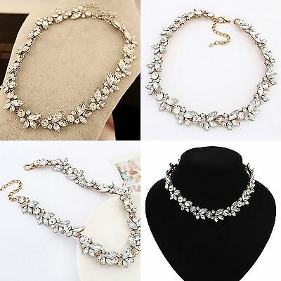 Women Charm Crystal Flower Pendant Statement Bib Chunky Choker Necklace