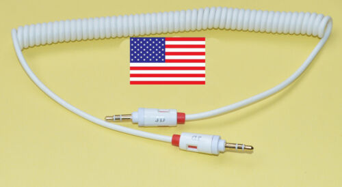 1.5 m White 3.5mm Coiled Aux Auxillary Audio Cable Spiral Curly for iPod iPhone