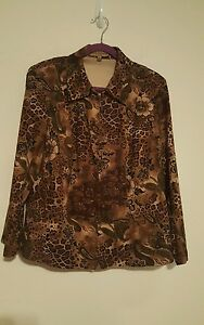 91977ed742e64 Image is loading Notations-Womens-size-1X-plus-brown-animal-print-