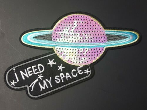 I Need My Space Sequin Planet Space Embroidered Patch Iron-On//Sew On Applique