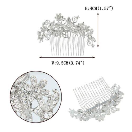 Silver Bridal Wedding Austrian Crystal Hair Clip Comb Head Piece