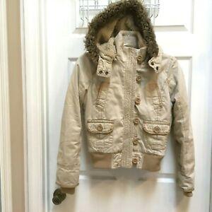 Aeropostale-Small-Petite-Sherpa-Lined-Jacket-Faux-Fur-trimmed-Hood-SP-Khaki