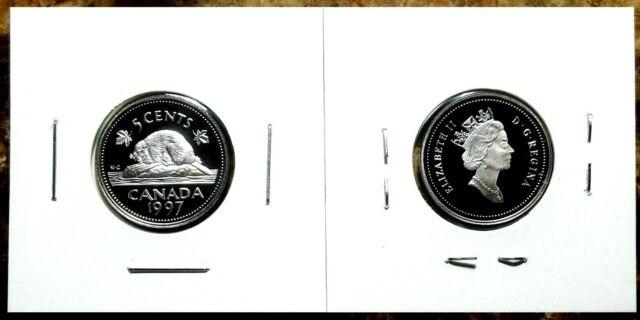 Canada 1997 Proof Gem UNC Silver Five Cent Nickel!!
