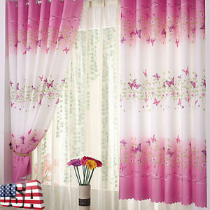1X Valances Tulle Butterfly Calico Door Window Curtain Drape Panel Scarf Divider