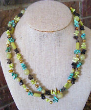 38 INCHES TURQUOISE CHIPS JADE ROUND TUBE BEADS FRESHWATER PEARLS NECKLACE