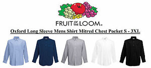 Oxford-Long-Sleeve-Mens-Shirt-Mitred-chest-pocket-Office-Work-School-S-3XL