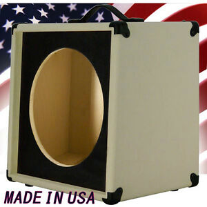 1x12 guitar speaker extension cabinet empty ivory white with blk texture front. Black Bedroom Furniture Sets. Home Design Ideas