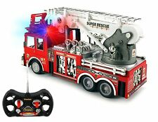 "Prextex 13"" R/C Rescue Fire Engine Truck Remote Control with Lights Siren"