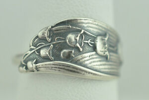 Beautiful-925-Sterling-Silver-Little-Lily-Of-The-Valley-Flower-Spoon-Ring