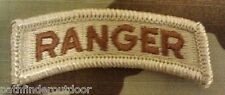 Ranger Tab US Army DCU Desert Subdued Patch w/ Hook Fastener Backing Free Ship!