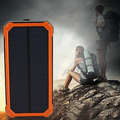 Waterproof 300000mAh Portable Solar Panel Charger Dual USB Battery Power Bank #Y