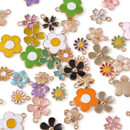 50Pcs 5 Style Flower Theme Alloy Daisy Sunflower Sakura Enamel Charms Pendants