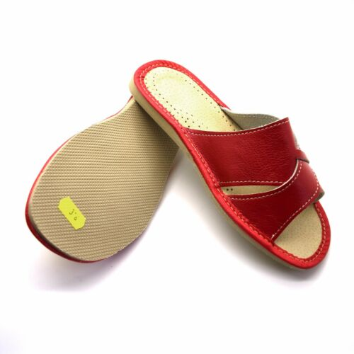 Mens /& Womens Ladies Leather Slippers Slip On Shoes All Sizes UK Mules Sandals