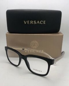 6e9b0bfd4530 New VERSACE Eyeglasses MOD.3239 GB1 54-20 145 Black Gold Clear ...