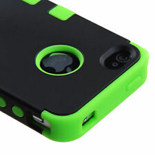 For iPhone 4 4S Rubber IMPACT TUFF HYBRID Case Skin Phone Cover Black Green