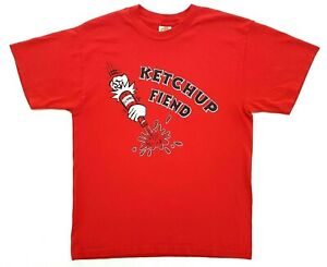 Vintage Ketchup Fiend Tee Red Size M Mens T-Shirt