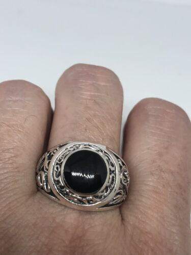 Vintage 925 Sterling Silver Real Black Onyx Size 10.75 Ring
