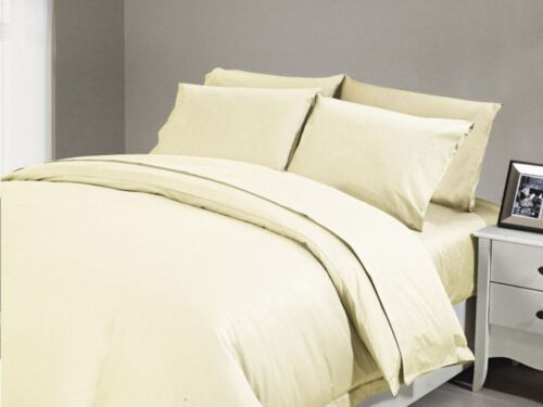 1200 TC Ivory Solid Sheet Set//DuvetCover//Fitted//Flat//Pillow King Egyptian Cotton