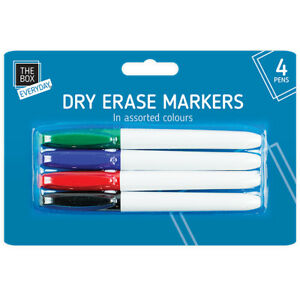 Dry-Erase-Markers-4-Pens-Thin-Thick-Slim-Marker-Board-Whiteboard-Dry-Wipe-Clean