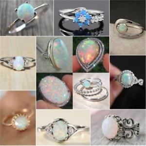 Luxury-White-Fire-Opal-925-Silver-Plated-Gems-Women-Jewelry-Ring-6-7-8-9-10-11