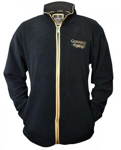 Guinness Fleece Zippered Top Mens Irish Dublin Ireland Embroidered Jacket New